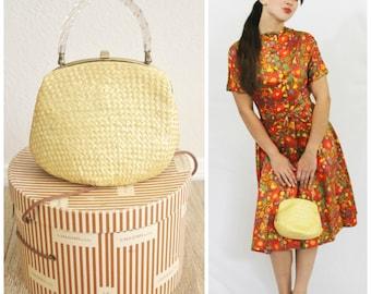 Vintage 60's MM Morris Moskowitz Crochet Butter Yellow Straw & LUCITE Handled Purse Handbag Spring