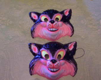 Two vintage retro pair Halloween black cat new old stock NOS plastic mask black light reactive