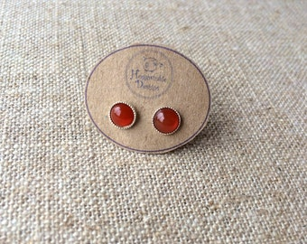Rich Fiery Carnelian Stud Earrings - July birthstone