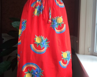 vintage cotton wrap skirt XS/S ~ 70s novelty print skirt