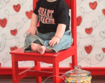 5x5 Valentines Day Photography Backdrop, Heart Backdrop - Fab Vinyl 5x5 ft (FV9045)