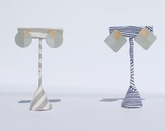 Silver Hand-Painted Geometric Wood Stud Earrings, Minimalist, Modern