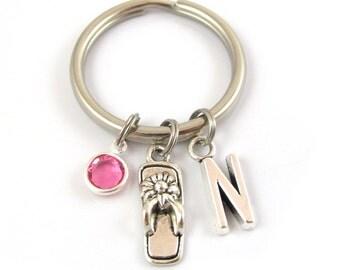 Flip Flop Keychain- choose a birthstone and initial, Sandal Keychain, Summer Keychain, Flip Flop Keyring, Summer Gift, Flip flop charm