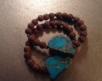 Turquoise Chunk Stretchy Bracelet-Brown Wood