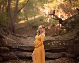 Off Shoulders Coralie Long Sleeves Maternity, Baby Shower, Bridesmaids, Photo Prop Dress / Grown , Gold, Mustard, Yellow