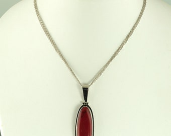 Sterling Silver Red Chalcedony Necklace
