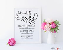 Cake Flavor Sign. Cake Sign. Cake Table Decor. Wedding Cake Table. Wedding Table Signs. Custom Wedding Signs. Personalized Wedding Print.