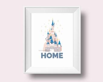 Disney Castle Art Print of Disneyland Paris, includes 8x10 PDF and JPG digital files ready for instant download of princess fairytale castle