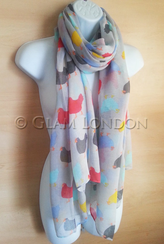Grey CHICKEN HEN Print Scarf Ladies Womens Hens by GlamLondon - Casual Collage Bags For Womens
