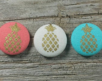 Coral, Off-White, or Turquoise gold pineapple print fabric covered buttons (size 40, 32)