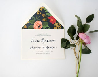 louisa save the date invitation //  printed invite / navy floral neutral calligraphy rifle paper liner custom romantic modern invite