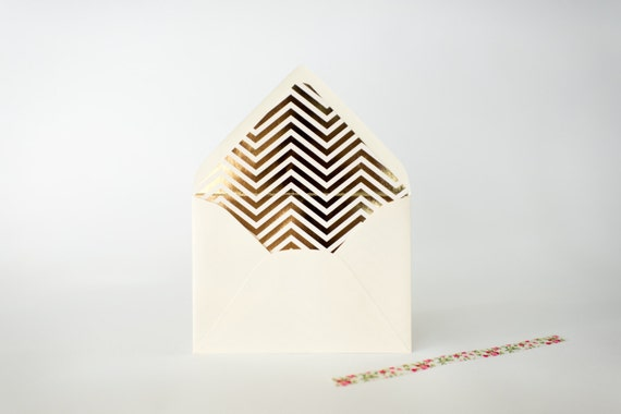 gold foil chevron lined envelopes (sets of 10)  // lola louie paperie