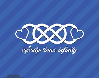 Infinity Times Infinity With Hearts Love Vinyl Decal Sticker Double Infinite