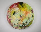 Large Circular Wall Art, Large Circular Wall Light, Wall Clock, Glass Wall Art, Modern Wall Light, Abstract Lighting, Red, Yellow, Green,uk