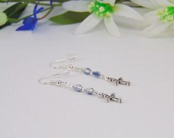 Earrings, Teardrop Earrings, Cross Earrings, Religious Earrings, Religious Jewelry, Cross Charm, Religious Gifts, Teardop Beads, Glass Beads