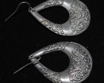 """vintage drop dangle earrings silver tone jewelry design 1 3/4"""""""