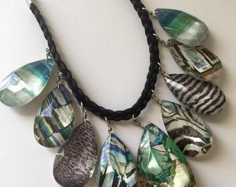Green Statement Necklace, Statement Jewelry, Emerald, Green, Bib Necklace