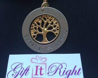 Gold Plated Medium Tree of Life Personalized Hand Stamped Necklace