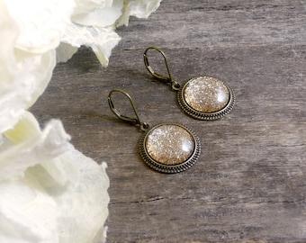 Golden glitter earrings, Golden sparkly dangle earrings, Sparkly earrings, Glass dome earrings, Sparkle jewelry Glitter gold earrings SJ 061