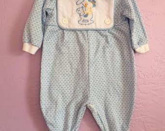 Vintage Blue Sleeper. Vintage Blue Playsuit w/ Cowboy Ducky. Yellow Ducking Suit. Yellow Duck Playsuit. Vintage Baby Boy Playsuit. 6-9 month