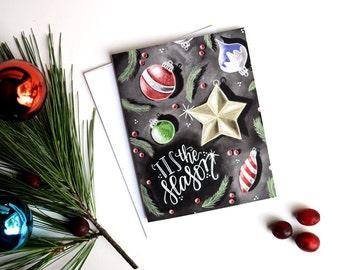 Holiday Card Set, Tis The Season, Chalk Art, Chalkboard Art, Christmas Card Set, Ornaments, Christmas Ornaments