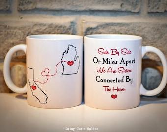 Custom State Coffee Mug - Best Friends Mug - Personalized Mug, Gift for Sister, Sister Gift, Gift for BFF, Friend, Gift for Mom Gift for Her