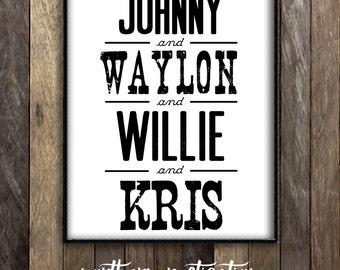 The Highwaymen, Johnny Cash Waylon Jennings Willie Nelson Kris Kristofferson Print, Country Music Legends Home Decor, Vintage Band Poster
