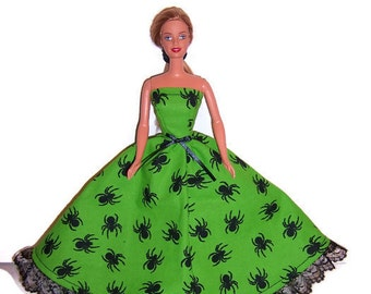 Fashion Doll Clothes-Lime Green Black Spider Print Strapless Dress