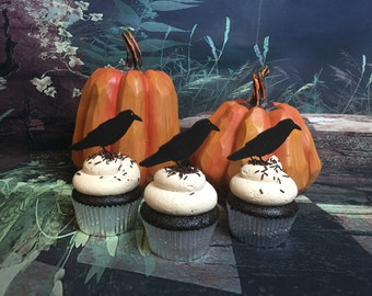 Halloween Cupcake Toppers, Crow Cupcake Toppers, Raven Cupcake Toppers, Fall Cupcake Toppers, Autumn Cupcake Toppers, Horror Night Cupcakes
