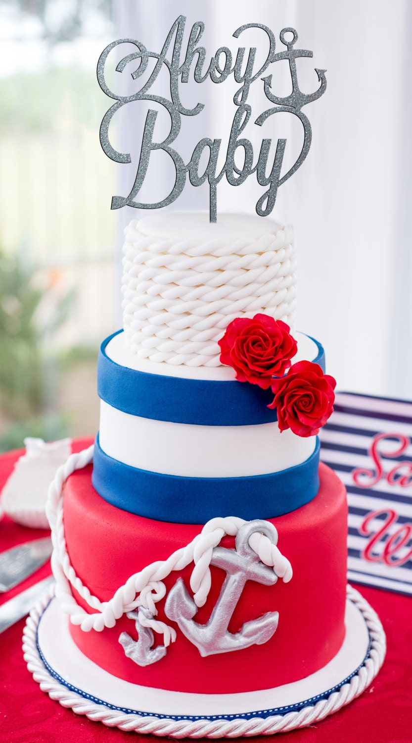 Nautical Baby Shower, Ahoy Baby Cake Topper, Baby Shower Cake, Baby Shower  Decor, Nautical Baby Shower Decorations, Gender Reveal Cake