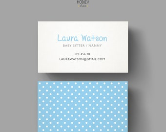 Business Card for Baby Sitter or Nanny Business, Premade cute design, dotty pattern, polka dots, blue and white, small business calling card