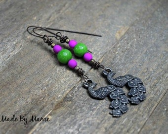 Rustic Peacock Earrings, Oxidized Copper, Boho, Gypsy, Neon Purple, Green, Bird Charms, Bohemian Jewelry, Long Handmade, Artisan, Animals