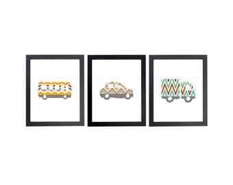 Transportation Nursery Art, Vehicles, Cars, Trucks, Bus, Nursery Prints, Boy's Room Decor, Bedroom Kids, geometric, modern art