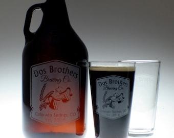 Personalized Beer Growler & 2 glass set with Cheers Mugs art , wedding gift , personalized growler, custom Beer Glass,Beer Gift, Beer