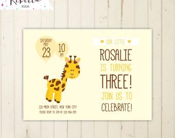giraffe birthday invitation zoo invitation girl birthday invitation balloon invitation giraffe invitation zoo birthday invitation yellow 263