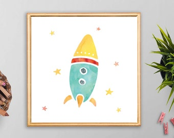 "Printable Flying Rocket Digital Art Print - 5x5"" Square Size - Modern - Children - Watercolor - Instant Download - Office - Home Decor"