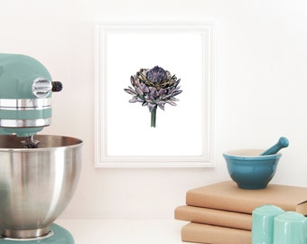 Blooming Artichoke No.1, Artichoke Watercolor Painting, Artichoke Art, Food Art Kitchen Art Print, Artichoke, Illustration Artichoke, Food