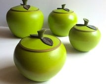 1950s Canister Set of 4. Apple Shaped Aluminum Kitchen Storage. Painted Green Canisters with Lids.