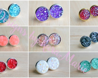 Druzy Earrings! 9 Colors - Handmade Druzy Earrings - Stud Earrings - Druzy Stud - Bridesmaid Jewelry - Bridesmaid Gifts