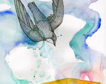 Artist Giclee Print of Water Color Painting by Jenn Rawling. 'One by One'