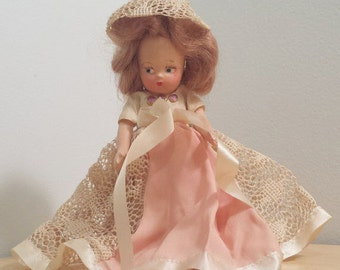 Composition Doll in Peach and Cream Lace Dress, vintage storybook doll, small character doll