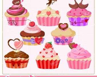 Valentine Cupcakes Clipart Set - For Commercial and Personal Use
