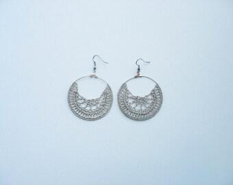 silver hand crochet hoop earrings