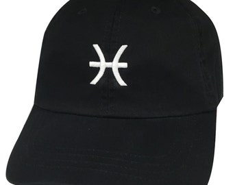 Pisces Dad Hat, Zodiac Horoscope Sign Embroidered  Low Profile Curved Bill Baseball Hat Cap, Black Hat