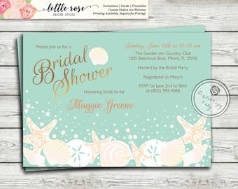 Beach Bridal Shower Invitation - Wedding Shower Invite - Seashells Starfish Invites - Summer - Under the Sea - Printable - LR1004