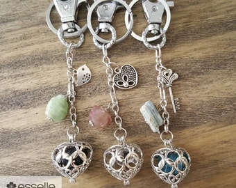Healing Crystal Purse Charm/Keychains, Purse Fob, Tourmaline, Herkimer Diamond, Apatite, Kyanite, Aquamarine