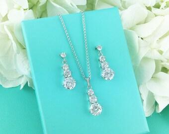 Crystal Jewelry Set, Three Stone Jewelry Set, Crystal Wedding Necklace Set, wedding jewelry set, bridesmaid jewelry set 210718647