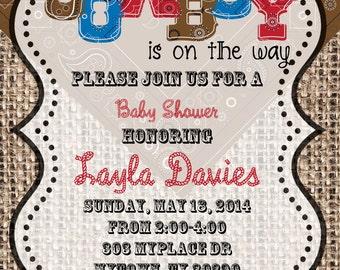 4x6 or 5x7 PERSONALIZED Digital Cowboy Baby Shower Invitation