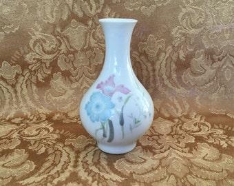Petite Floral Porcelain Vase, Small Floral Vase, Blue Pink Floral Pattern, Mini Floral Vase