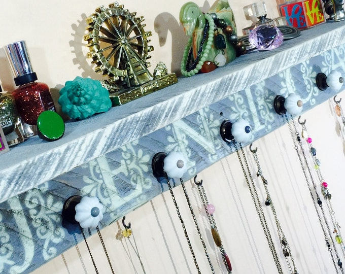 Personalized pallet wood wall shelf /accent shelves/ girls room reclaimed floating shelving /jewelry wall storage shelving 6 hooks 5 knobs